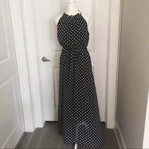 Polka Dot Sleeveless Maxi Dress Sz. M